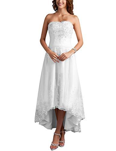 Brautkleider Hochzeitskleider Vintage Prinzessin Spitze Brautmode Vorne Kurz Hinten Lang Standesamtkleid Weiß 36