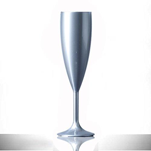Lot de 12 flûtes de champagne en plastique polycarbonate argenté de 195 ml - Qualité alimentaire - À réutiliser des centaines de fois - Rigides, pratiquement incassables