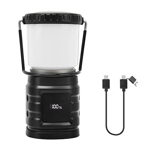 LAMA Camping Lantern Rechargeable Portable LED Hanging Lamp with 800LM, 10000mAh, 3 Light Modes, IP57 Waterproof, Phone Emergency Light, Perfect for Camping, Outdoor Activities, Power Outage (Black)