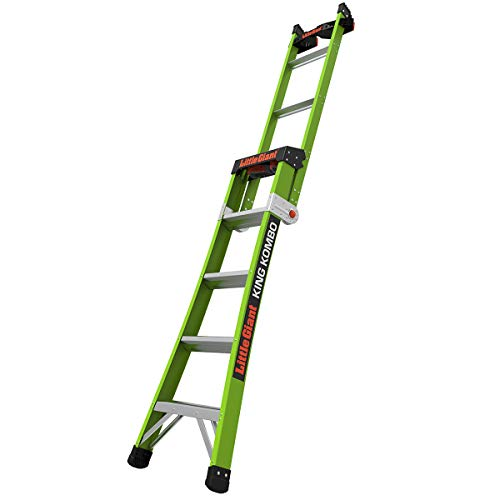 Little Giant Ladders, King Kombo, Professional, 5 Ft. A Frame, 8 Ft. Extension, with Quad Pod, Fiberglass, Type 1AA, 375 lbs Weight Rating, (13580-031)
