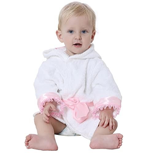 Accappatoio 100% Cotone Per Bambini Neonati 0 - 12 Mesi - Asciugamano Bimbo 1 Anno Spugna Con Cappuccio Idee Regali Nascita Maschio Femmina (Principessa Rosa)