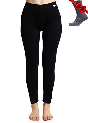Merino.tech Merino Wool Base Layer Womens Pants Merino Wool Leggings + Socks (Medium, Black)