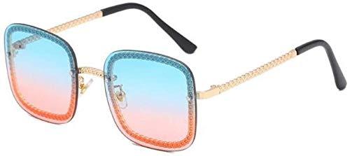 ZYIZEE Gafas de Sol Gafas de Sol Retro con Montura de Cadena Cuadrada Sombras para Mujer Gafas de Sol Grandes de Moda para Hombres Gafas únicas-C2_Blue_Pink