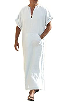 COOFANDY Men s V-Neck Linen Robe Short Sleeve Kaftan Thobe Long Gown Casual Shirt for Beach Summer