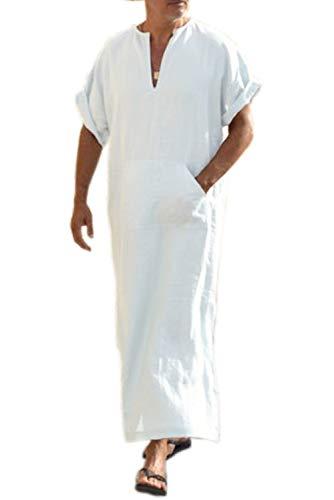 COOFANDY Bata de lino con cuello en V para hombre de manga corta Kaftan Thobe vestido largo casual para playa, verano, 01-Blanco, Large