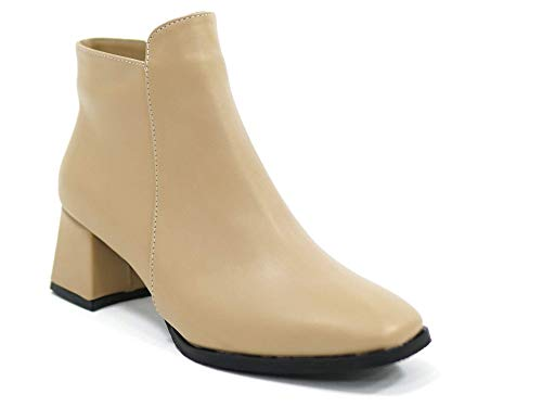 Çancı CDB1001 – kozaki damskie – botki – kozaki damskie – kozaki zimowe damskie – buty zimowe z obcasem, beżowy - nude - 37 eu