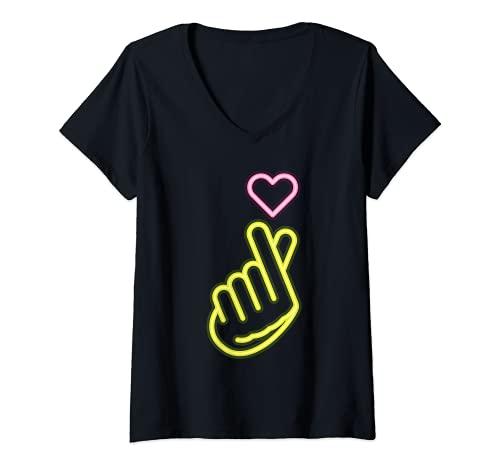 Mujer K-Pop Niñas Símbolo De Mano Kpop Corazón Música Corea del Camiseta Cuello V