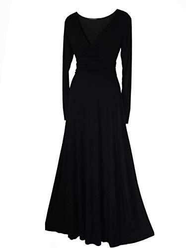Vestido de noche formal de manga larga largo completo fiesta Tallas 8-24 negro, borgoña, rojo, lila, verde o verde azulado - NEGRO, 36 EU