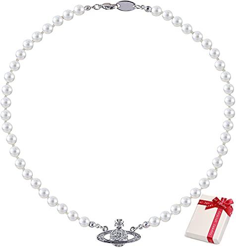 Cymeosh Saturn - Collar de perlas para mujer con diseño de planeta de cristal y estrás, regalo para mujeres, niñas, mejor amiga, cumpleaños, día de la madre, Navidad (plateado)