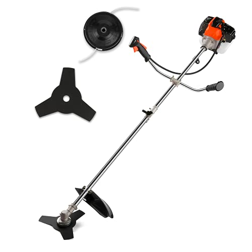 COOCHEER 2-in-1 Gas Powered Weed Eater Straight Shaft Weed Trimmer Wacker String Trimmer and Brush Cutter with U-Handle and 2 Trimming Heads for Small Grass / Heavy Bush
