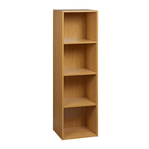 URBN Living® 1, 2, 3, 4Etagen Holzregal Bücherregal Aufbewahrung Holz Regal, Buche, 4 Ablagefächer