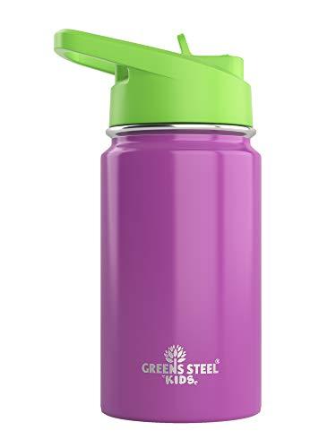 340 ml Kinder-Wasserflasche mit Strohhalm, auslaufsicher, isoliert, doppelwandig, Edelstahl, 340 ml, einfach zu versenden, kindersichere Flasche, umweltfreundliche Wasserflaschen (lila)