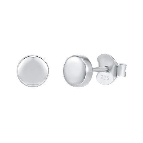 PAVOI 14K Gold Plated 925 Sterling Silver Earrings | Tiny Dot/Triangle Disc Stud Earrings | White Gold Stud Earrings for Women