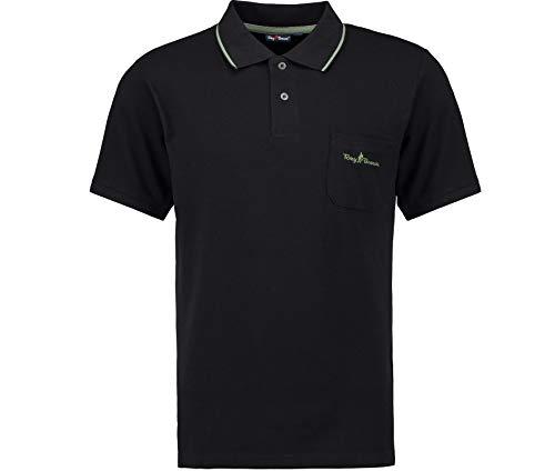 Tony Brown | Herren Basic Polo Shirt | Uni Farben | Brusttasche | (XXL, schwarz)