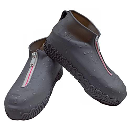 SunshineFace - 1 paio di copriscarpe impermeabili, riutilizzabili, pieghevoli, antiscivolo, in silicone, con cerniera per scarpe da esterno