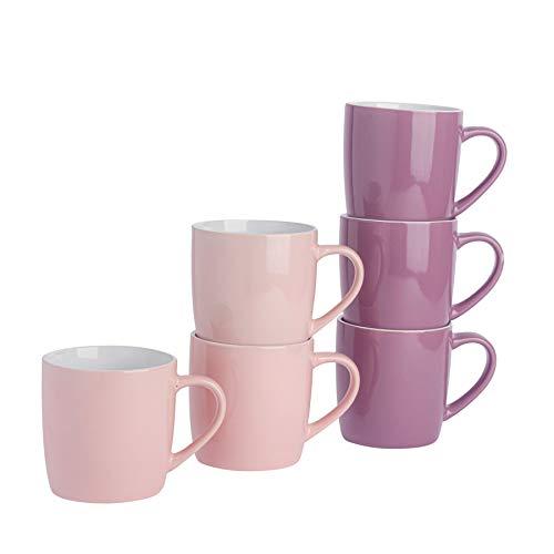 Argon Tableware Tasses à thé/café en céramique - coloré/Moderne - 340 ML - Rose/Violet - Lot de 6