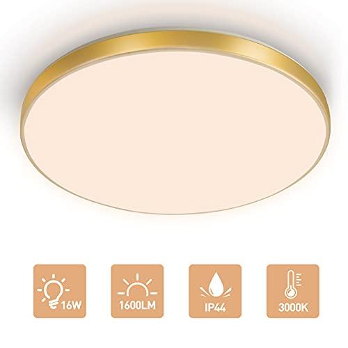 LKESBO LED Lampara De Techo 16W Moderna Plafon para Techo Redondo Cocina 1600LM 3000K IP44 Luz para Sala de Estar Dormitorio Pasillo