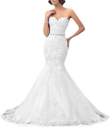 OYISHA Womens Strapless Mermaid Wedding Dress for Bride 2020 Lace Bridal Dresses Long Size 16 White