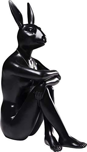 Kare Design Figur Gangster Rabbit Schwarz, Dekofigur Hase, Dekoobjekt schwarz, sitzender Hase, (H/B/T) 39x26x15cm