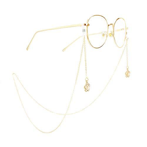 GonFan metalen bril, touw, goud, Venetiaanse parel, pruimenbloesem-hanger, brilketting, anti-slip hals, decoratieve bril, ketting voor mannen en vrouwen