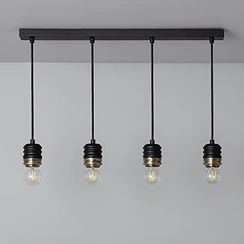 LEDKIA LIGHTING Lámpara Colgante Rugat 4 Focos 1634x680x60 mm Negro E27 Casquillo Gordo Aluminio Decoración Salón, Habitación, Dormitorio