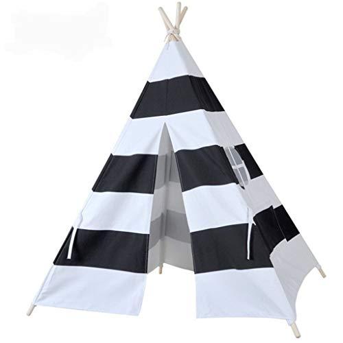 Tents Faltbare Zelt, Haushaltstuch Zelt Schlafzimmer Nap Zelt Kindervierecke Zelt/Weiß mit schwarzen Streifen-Muster (Color : Black+White, Size : 120 * 120 * 150CM)