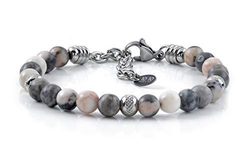 10:10 Bracciale con pietre naturali diaspro da 6 mm, beads in acciaio inox, bracciale molto resistente prodotto in Italia…