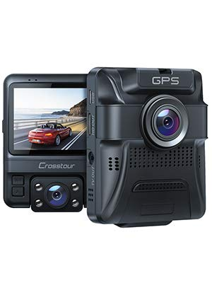 Dash Cam - GPS Dual Car Camera Uber Crosstour 1080P Front and 720P Inside DVR Recorder with 2.4 Screen IR Super Night Vision Parking Mode Motion Detection and G-Sensor