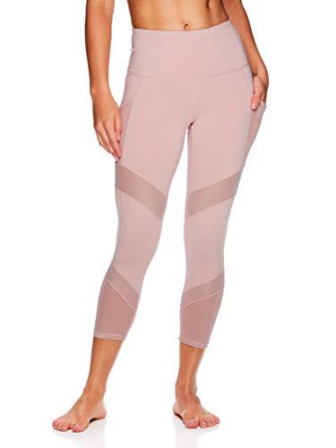 Gaiam Women's High Rise Waist Yoga Pants - Performance Spandex Compression Leggings w/Phone Pocket - Pale Mauve, Small