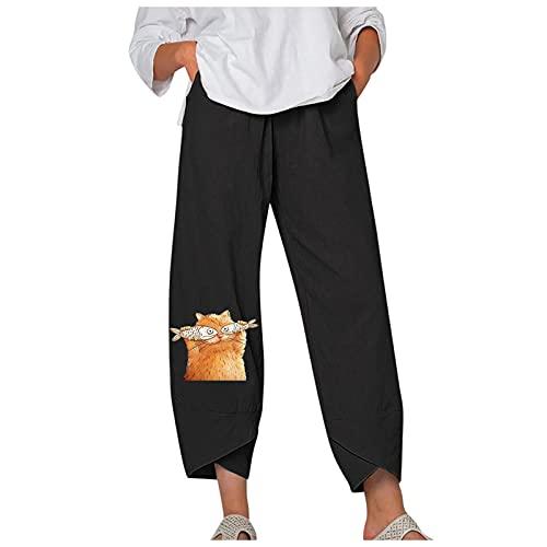 VCAOKF Pantalones anchos para mujer, holgados, divertidos, estampados Miau, para verano, sueltos, de algodón y lino, con pernera ancha Negro XXL
