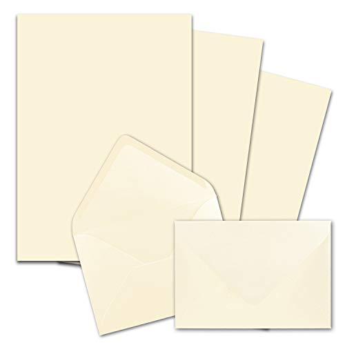 50x Briefpapier-Sets DIN A4 mit C6 Briefumschlägen, Nassklebung - Creme-Vanille - mattes Schreibpapier mit Kuverts - FarbenFroh by GUSTAV NEUSER