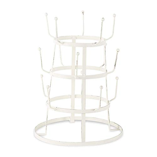 DII 5464 3 Tier Countertop or Pantry Vintage Metal Wire Tree Stand for Coffee, Glasses, and Cups, 15...