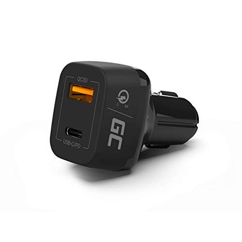 Green Cell Premium 42 W/USB de 2 Puertos USB de c Cargador de Coche, Power Delivery, Quick Charge 3.0 para iPhone X/8/7/6S/6/Plus, iPad, Galaxy S8/S7/Edge/Note, Google Nexus, LG y Otros Dispositivos