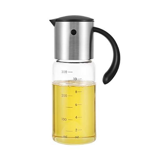 vkchef オイルボトル 醤油差し 酢ボトル ドレッシング ボトル オイル入れ 耐熱ガラス ステンレス オイルポット 油容器 自動的に開の注ぎ口 油差し 液だれしないボトル 調味料入れ 調味料ボトル 300ml 油容器 家庭キッチン用 料理用