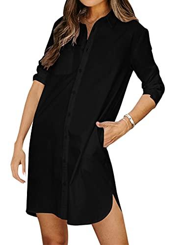 kenoce Blusenkleid Damen V-Ausschnitt Langarm Longshirts Tunika Strand Cover Up Sommerkleid Vertuschen Shirt A-Schwarz XXL