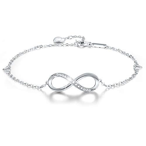 EsberryGifts for Mother's Day with Gift Wrap18K Gold Plated 925 Sterling Silver Bracelets 5A Cubic Zirconia CZ Infinity Endless Love Symbol Bracelets for Women and Girls (18K White Gold-Infinity 1)
