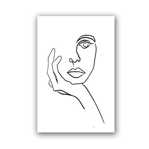 DMPro Picasso Le penseur sur Toile Tableau Dessin au Trait Affiche Minimaliste Croquis Visage Art Noir Blanc Murale Art peintures Salon Decoration 40x