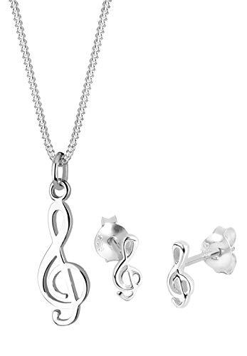 Elli Schmuckset Damen Notenschlüssel Musik in 925 Sterling Silber