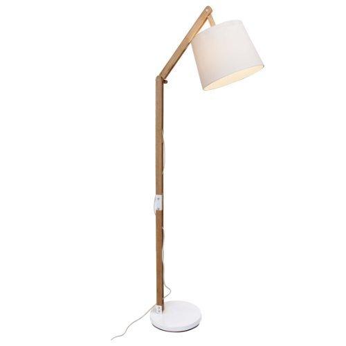 Lámpara de pie con tela y estructura de madera, 1x E27Max. 60W, madera, color blanco
