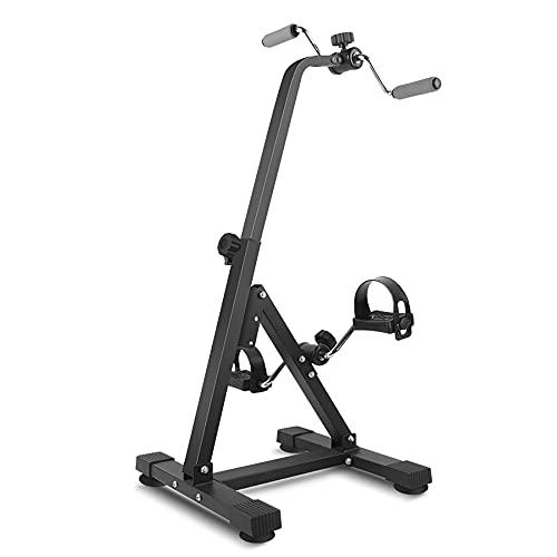 Entrenador de Pies y Manos, ejercitador de pedales con resistencia variable, entrenamiento en bicicleta para ancianos discapacitados, altura ajustable 87-96 cm/Black / 87x41x40.5cm