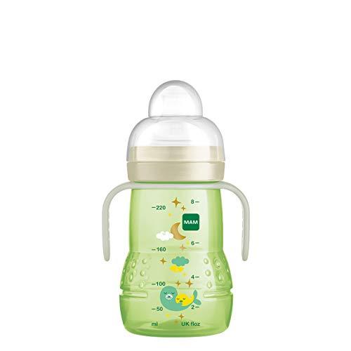MAM Trainer+ Night - Biberón para aprender a beber (220 ml), con mango luminoso para la transición al vaso, con tetina antigoteo y boquilla para beber (4 meses), color verde