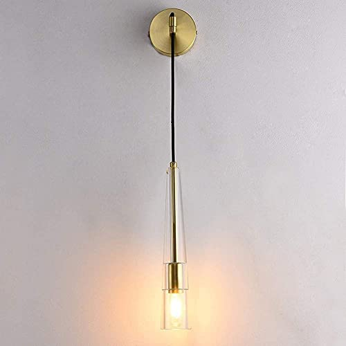 KDLAK Lámpara de pared de cristal simple, Lámpara de pared LED para interiores con cable colgante ajustable, Lámpara de noche para dormitorio, Base de latón
