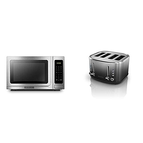 BLACK+DECKER Digital Microwave Oven,1000W,1.4 cu.ft,Stainless Steel & 4-Slice Extra-Wide Slot Toaster, Stainless Steel, Ombré Finish, TR4310FBD,Black/Silver Ombre