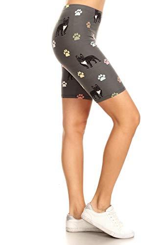 Leggings Depot LBKX-S541-2X Frenchie Paws Printed Biker Shorts, 2X Plus