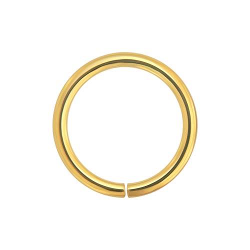 14K Solid Gelb Gold 18-Gauge - Durchmesser von 6MM Nahtlose kontinuierliche offene Hoop Nasenring Nase Piercing