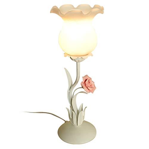 OMYLFQ Lampes à Poser Chambre Lampe de Table de Chevet en céramique Fait Main Rose Lampe de Table Veilleuse Éclairage de Maison Romantique (Rose/Blanc) Lampe de Table Décorative (Color : White)