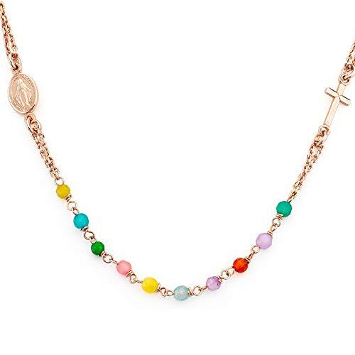 Amen Collection – Rosenkranz als Halskette, Jade-Stein, mehrfarbig, AG925