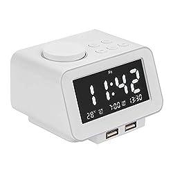 Alarm Clocks for Bedrooms, LED Digital Alarm Clock Radio with FM Radio, Dual USB Port for Charger, Dual Alarms, 5 Level Brightness Dimmer, Adjustable Alarm Volume, Best for Men - White
