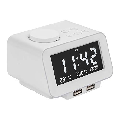 Alarm Clocks for Bedrooms, LED Digital Alarm Clock Radio with FM Radio, Dual USB Port for Charger, Dual Alarms, 5 Level Brightness Dimmer, Adjustable Alarm Volume, Best Gift for Men - White