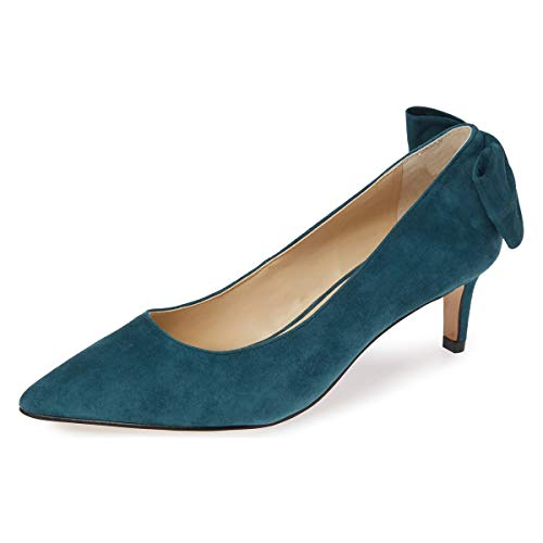 YDN Women Pointed Toe Low Heel Office Pumps Slip on Dress Shoes with Bowknots Teal 7